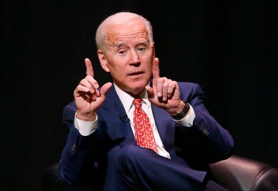 In this Dec. 13, 2018, file photo, former Vice President Joe Biden speaks at the University of Utah.