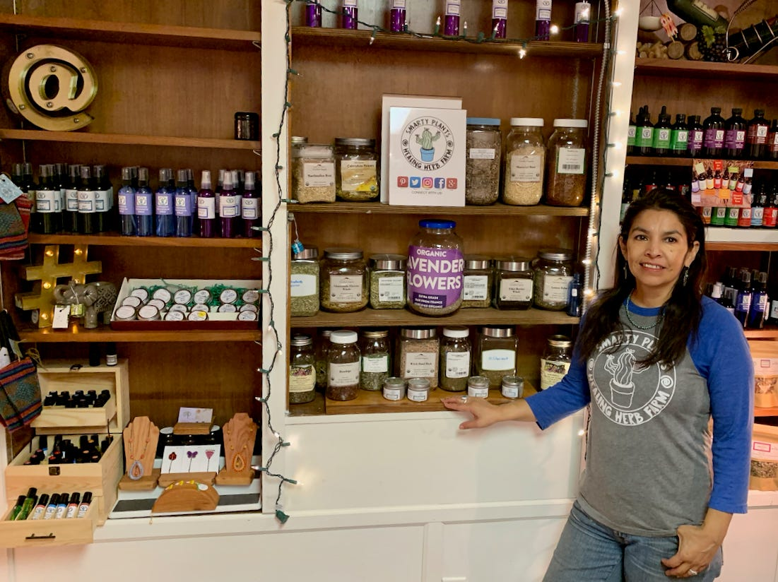 Ruthie Turnbo is seen in her new storefront at Down the Rabbit Hole. Ruthie and husband Bo began Smarty Plants about five years ago with a presence at the Downtown Farmer's Market. This retail space at Down the Rabbit Hole, Ruthie said, allows her to provide products six days a week, along with her expert guidance about healthy liquid extracts, herbal and bulk teas. Turnbo's spot also sells locally sourced aromatherapy jewelry and beaded jewelry made by local craftswomen.