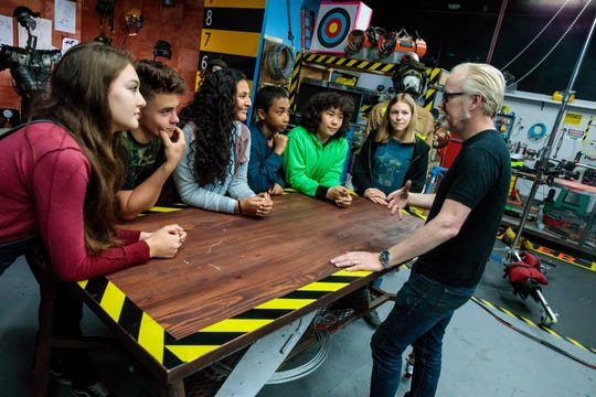 Adam Savage, right, talks to the young mythbusters of Science Channel's new spinoff series, 'Mythbusters Jr.'