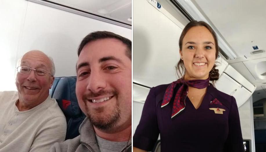 Passenger Flight Attendant Daughter Working Christmas Flies With Dad