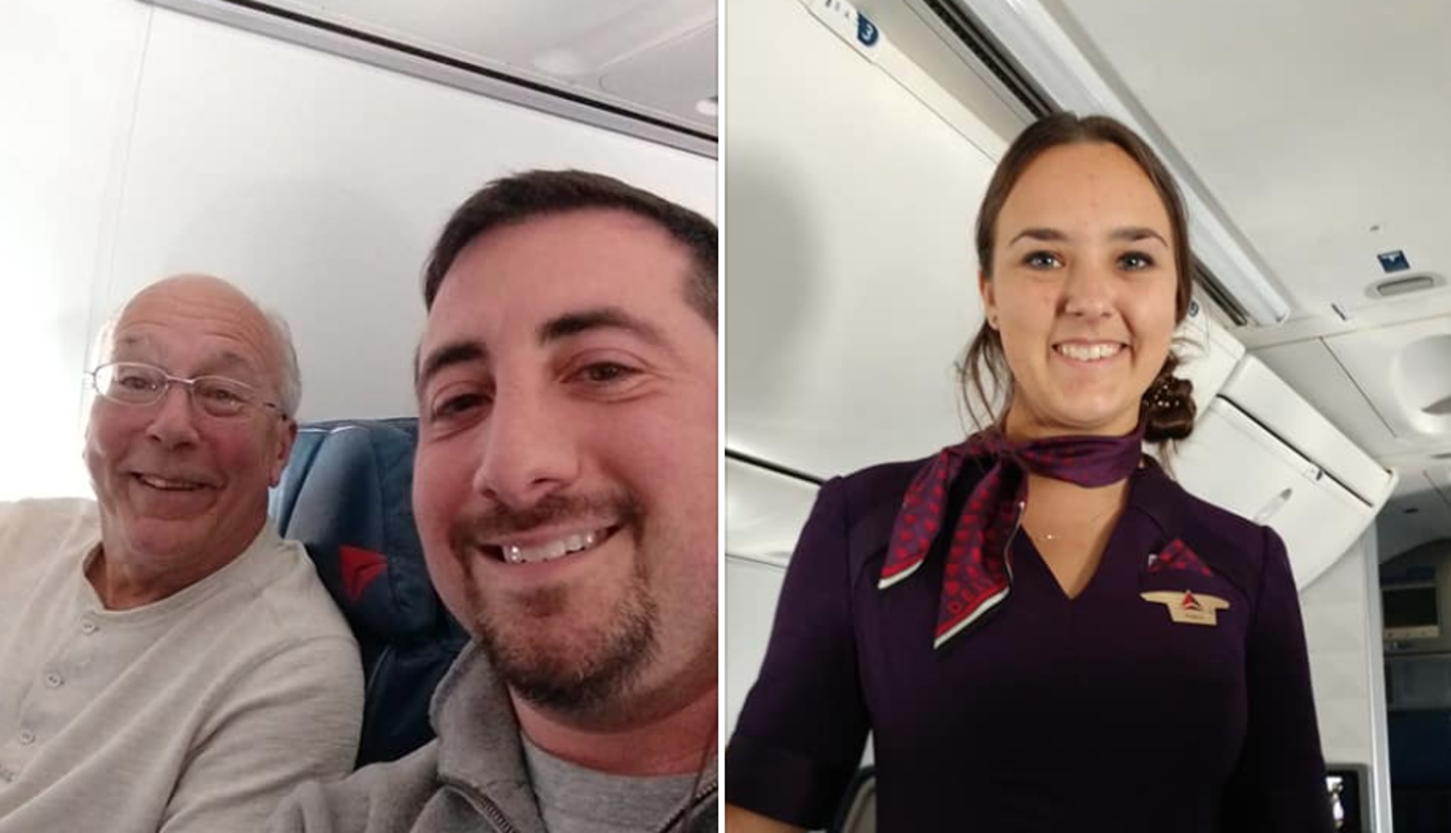 Passenger Flight Attendant Daughter Working Christmas Flies With Dad