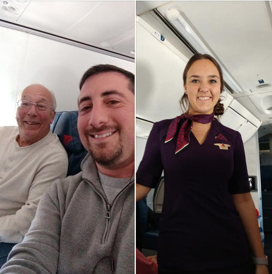 She worked over Christmas as a flight attendant, so dad booked flights