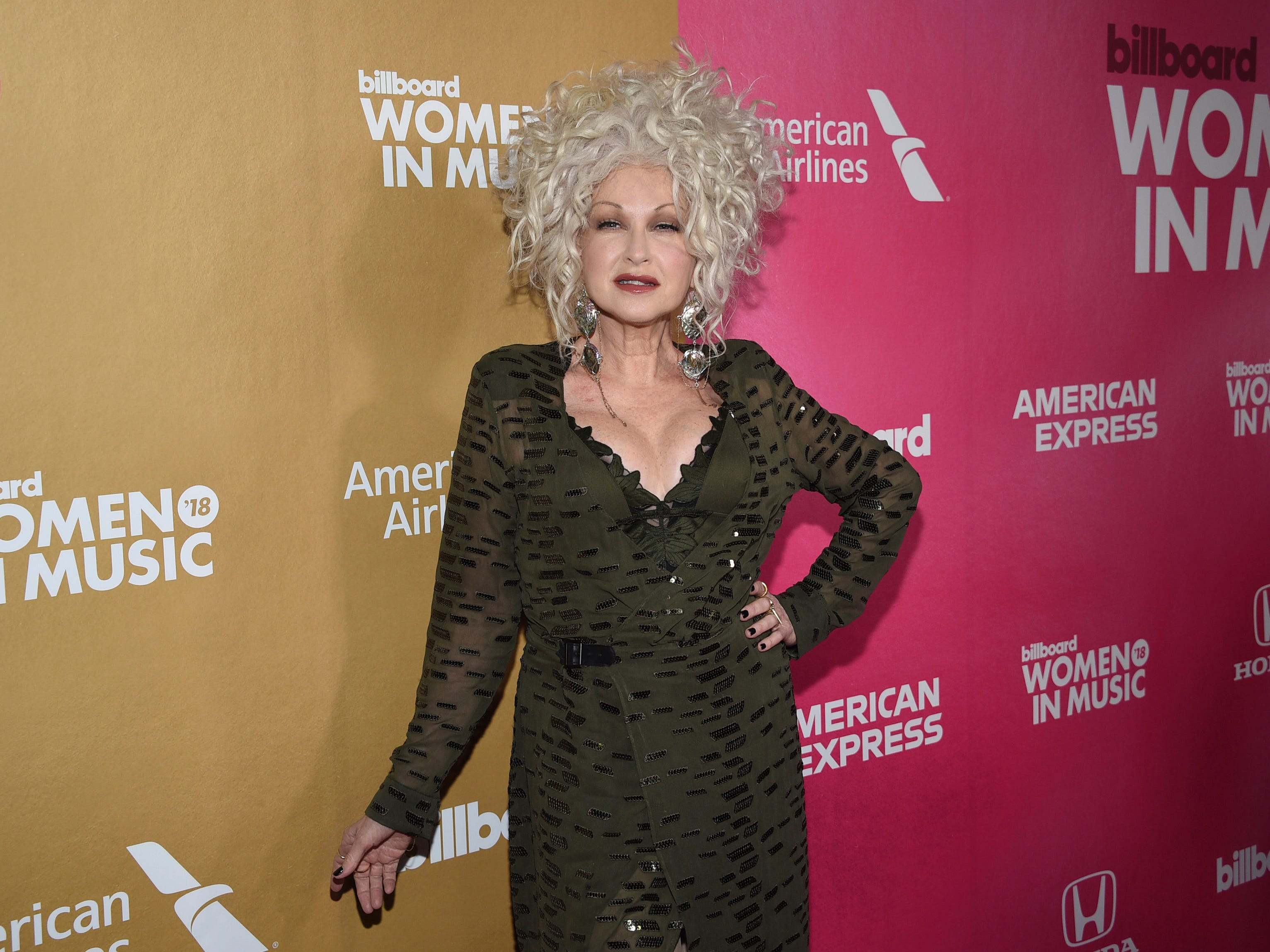 Cyndi Lauper attends the 13th annual Billboard Women in Music event at Pier 36 on Thursday, Dec. 6, 2018, in New York. (Photo by Evan Agostini/Invision/AP) ORG XMIT: NYAK103