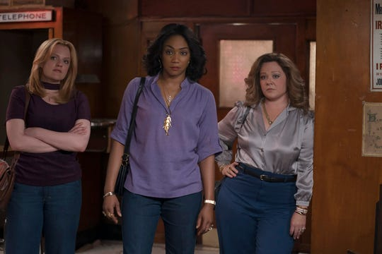 "Elisabeth Moss, Tiffany Haddish and Melissa McCarthy star as a trio of women who take over the Irish mob in Hell's Kitchen in the crime drama ""The Kitchen."""