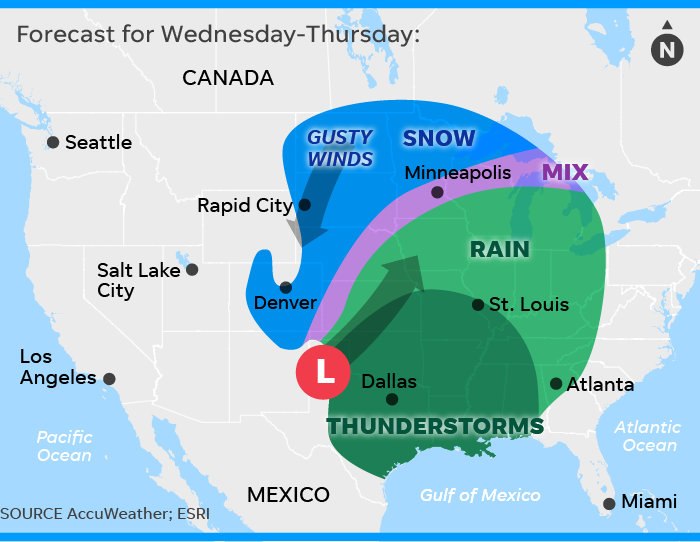 Winter weather forecast: Snow, airport delays expected through Friday