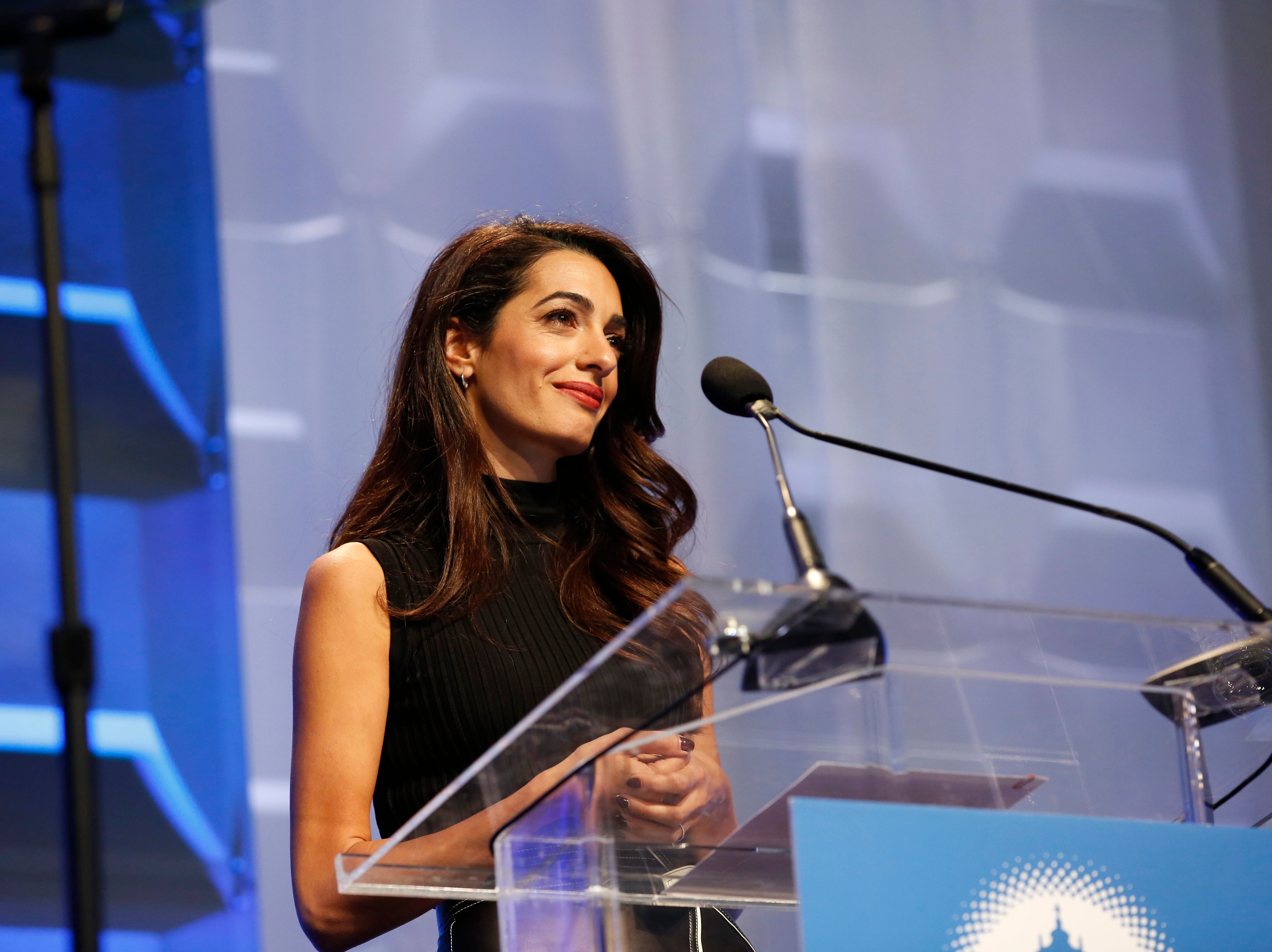 BOSTON, MA - DECEMBER 06:  Human rights lawyer Amal Clooney speaks on stage during 2018 Massachusetts Conference For Women at Boston Convention & Exhibition Center on December 6, 2018 in Boston, Massachusetts.  (Photo by Marla Aufmuth/WireImage ) ORG XMIT: 775264173 ORIG FILE ID: 1069138466
