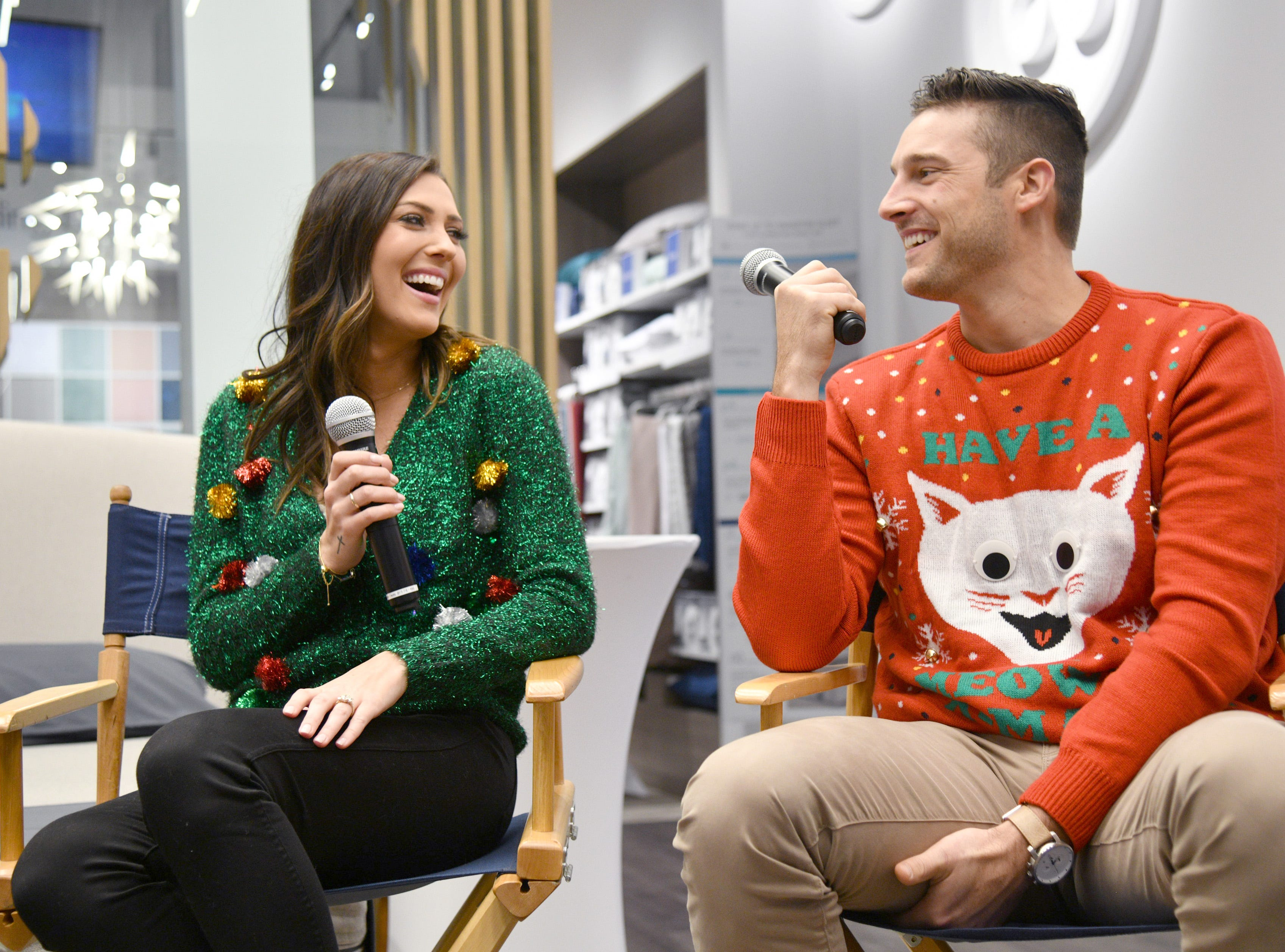 NEW YORK, NY - DECEMBER 14:  Becca Kufrin and Garrett Yrigoyen speak as Sean and Catherine Lowe, Becca Kufrin and Garrett Yrigoyen celebrate Sleep Number with a night 'Under the Mistletoe' at Sleep Number on December 14, 2018 in New York City.  (Photo by Bryan Bedder/Getty Images for Sleep Number) ORG XMIT: 775269177 ORIG FILE ID: 1073351404