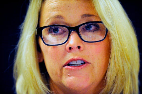 Former Boston news anchor Heather Unruh speaks at a news conference in November 2017 in Boston during which she accused actor Kevin Spacey of sexually abusing her son in July 2016 on Nantucket Island.