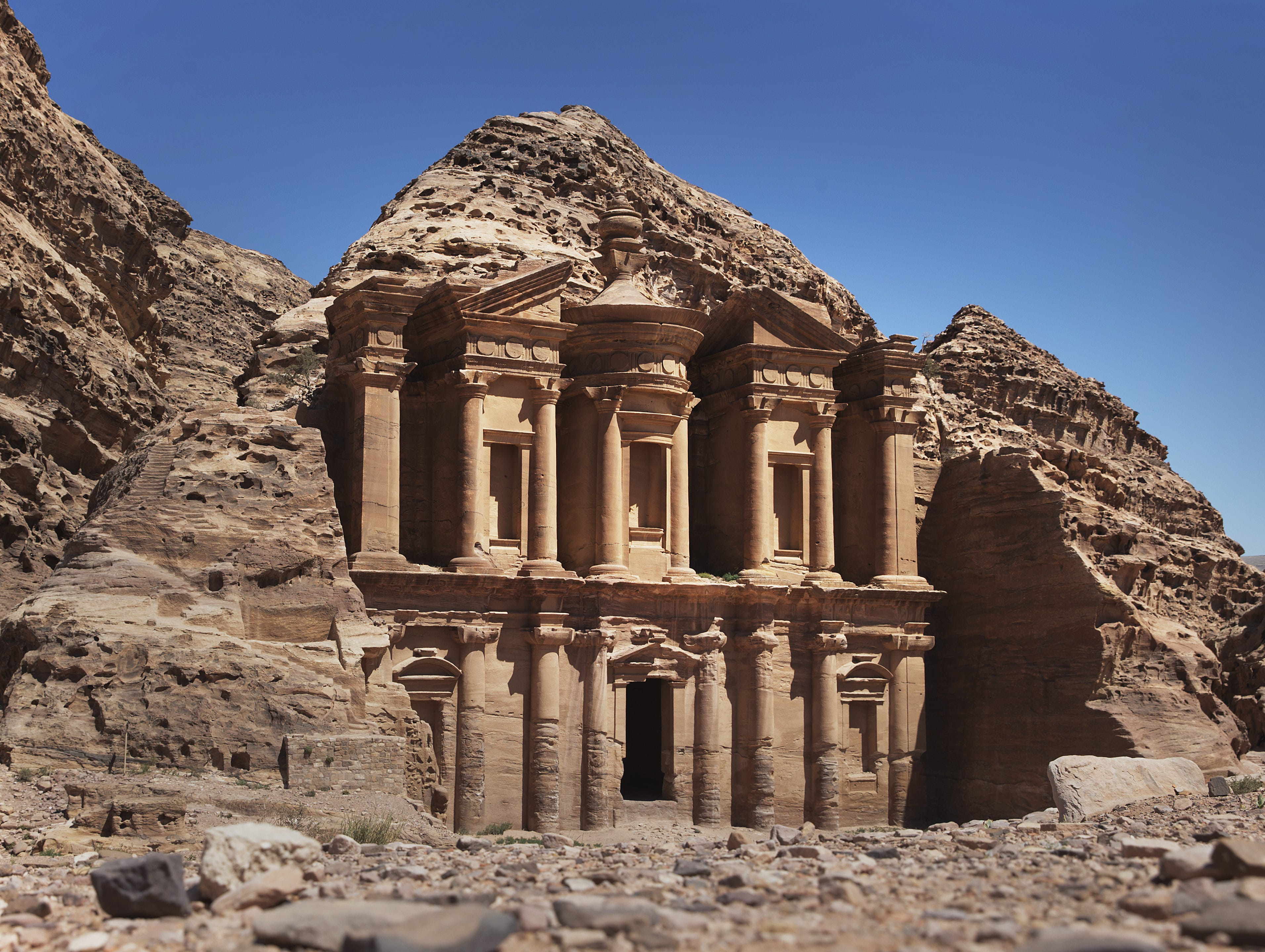 Jordan is a more stable part of the Middle East that attracts visitors for its ancient sites. This is the Monastery building in the ancient city of Petra.