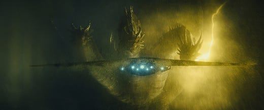 Ghidorah is back, too, fighting for monster supremacy and intimidating some humans along the way.