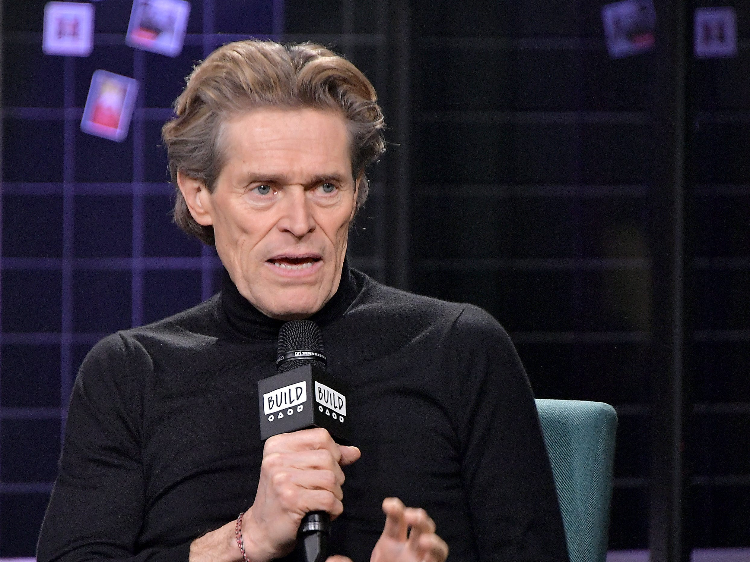 """NEW YORK, NEW YORK - DECEMBER 19: Actor Willem Dafoe  visits Build to discuss the movie """"At Eternity's Gate"""" at Build Studio on December 19, 2018 in New York City.. (Photo by Michael Loccisano/Getty Images) ORG XMIT: 775100429 ORIG FILE ID: 1084757628"""