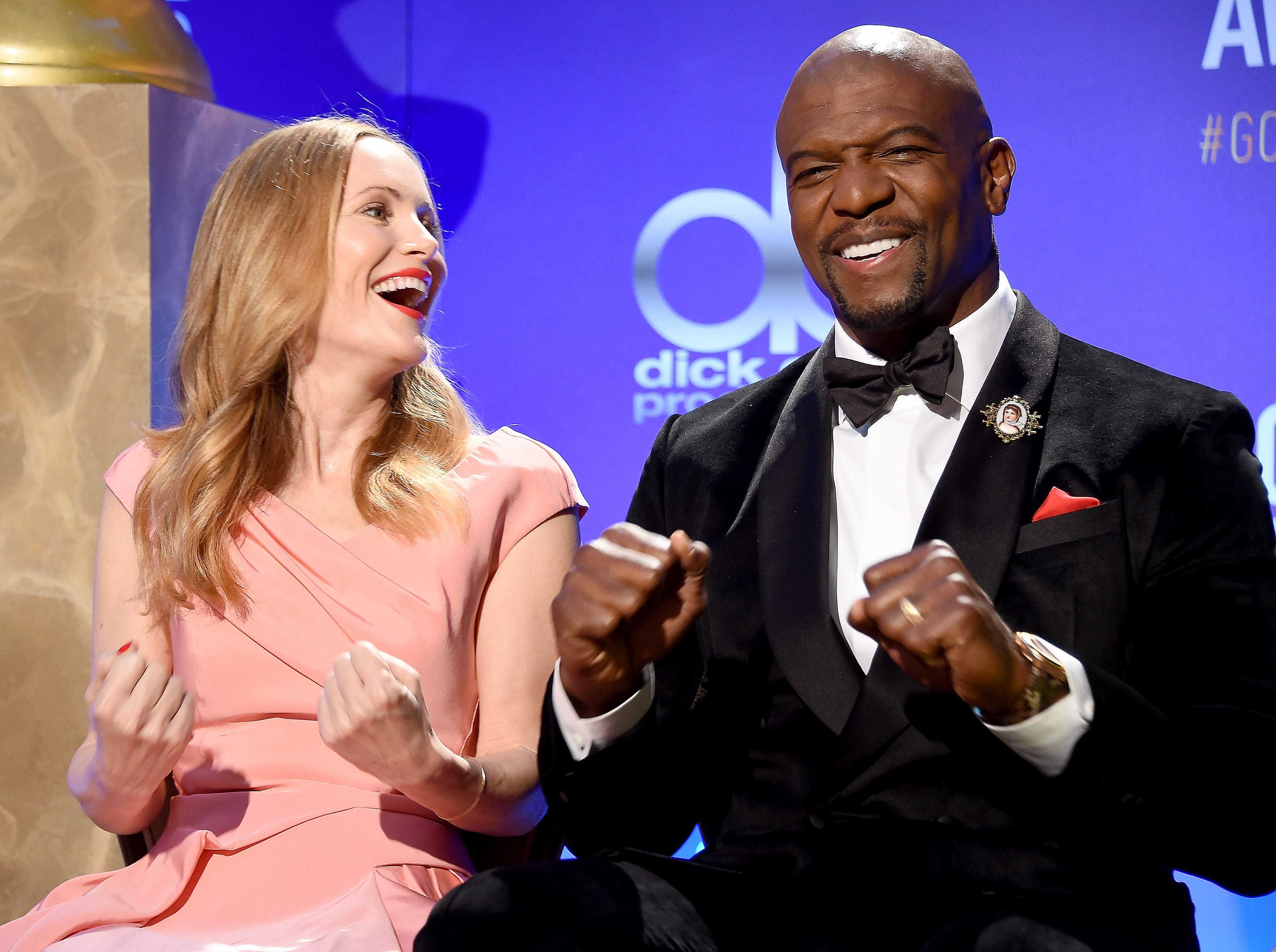 LOS ANGELES, CA - DECEMBER 06:  Leslie Mann and Terry Crews attend the 76th Annual Golden Globe Nominations Announcement on December 6, 2018 in Los Angeles, California.  (Photo by Gregg DeGuire/WireImage) ORG XMIT: 775237821 ORIG FILE ID: 1068959850