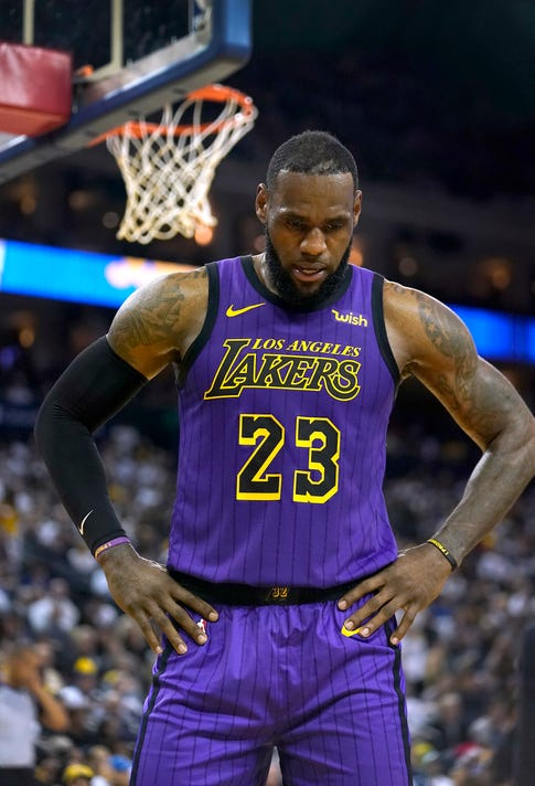 2f86cb8815c Ap Lakers Warriors Basketball S Bkn Usa Ca. Los Angeles Lakers forward LeBron  James ...
