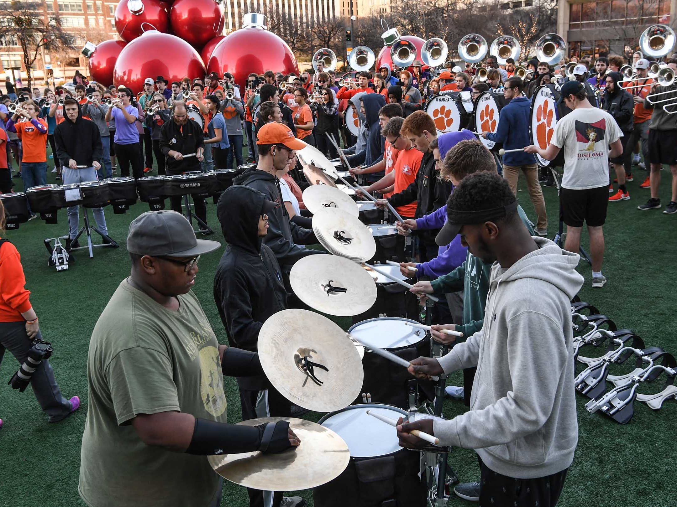 Drumline play during Clemson Band practice outside the Omni in Dallas December 27, 2018.