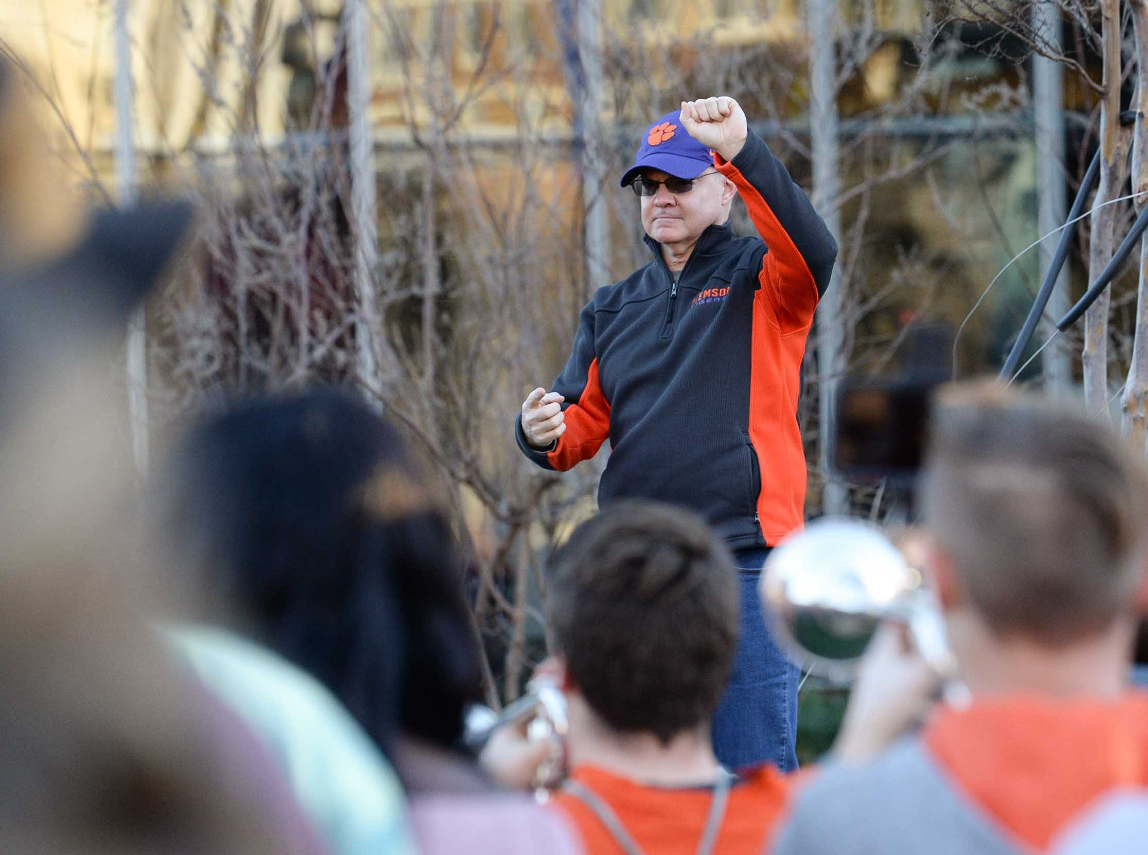 Director of Bands Mark Spede leads during Clemson Band practice outside the Omni in Dallas December 27, 2018.