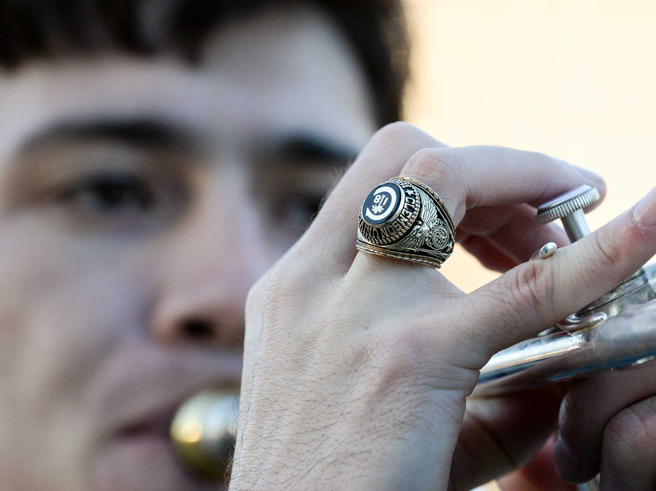 Will McAlhany plays trumpet during Clemson Band practice outside the Omni in Dallas December 27, 2018.