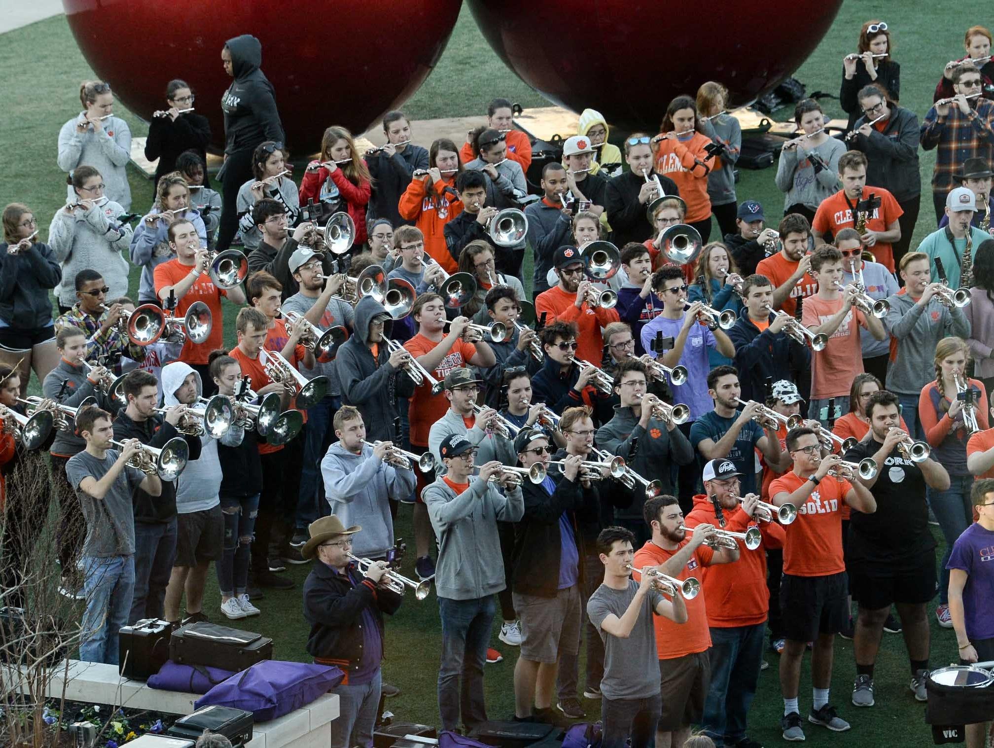 during Clemson Band practice outside the Omni in Dallas December 27, 2018.