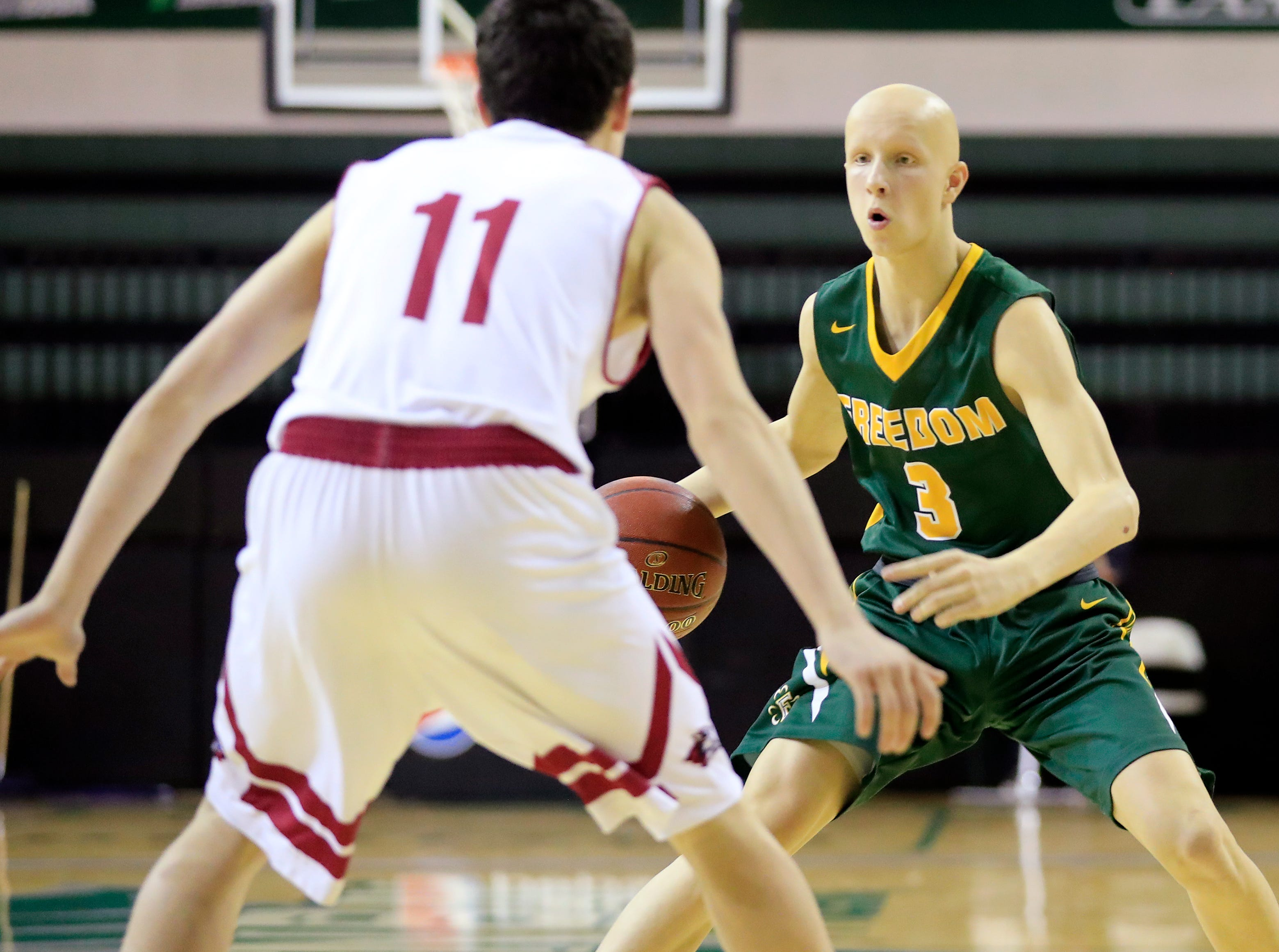 Freedom's Austin Balck (3) dribbles against New Holstein at the Sun Drop Shootout at the Kress Center on Thursday, December 27, 2018 in Green Bay, Wis.