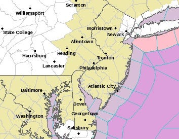 Nearly all of New Jersey was subject to a hazardous weather outlook for Thursday night into Friday.