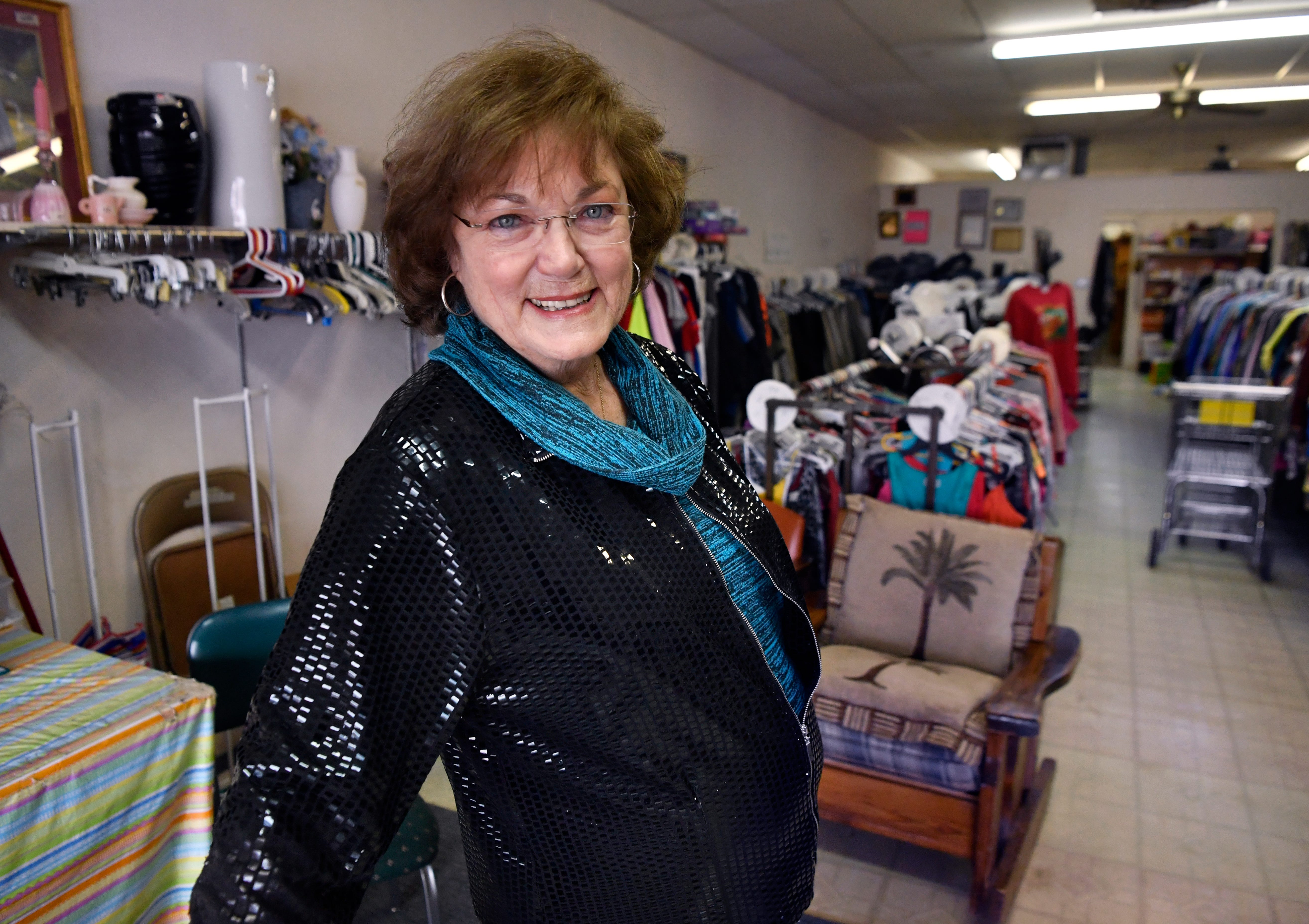 Lou Denton Vail at Pink Ladies, a resale shop in Knox City on Wednesday.