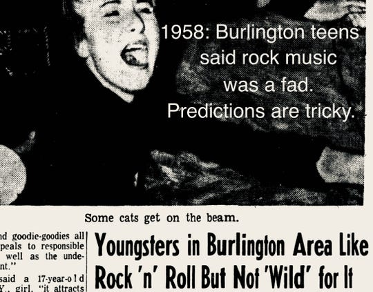 A clip of the Burlington Free Press from 1958, in which local teens agreed with a national survey saying that rock was on its way out.