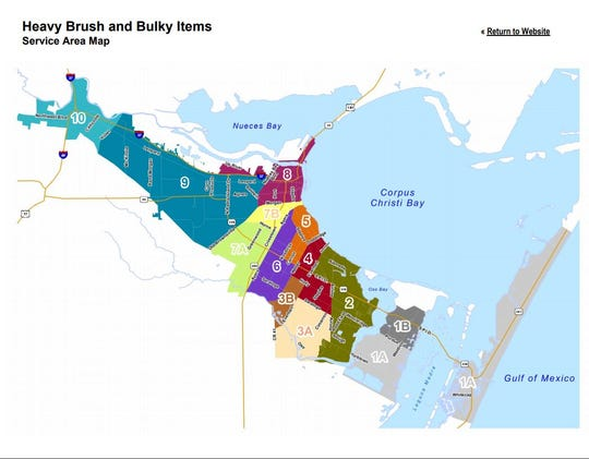 A map shows zones for brush and bulky item pickup in Corpus Christi.