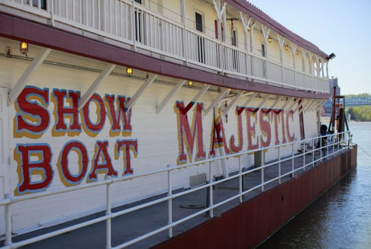 Friday, April 6, 2012: SHOWBOAT MAJESTIC: The Showboat Majestic is docked at the Public Landing. Crews were getting the 1923 Riverboat ready for the summer theatre opening of 'Babes in Hollywood' on  May 16. The Showboat Majestic is under the administration of Cincinnati Landmark Productions, in cooperation with the Cincinnati Recreation Commission. The Enquirer/ Liz Dufour