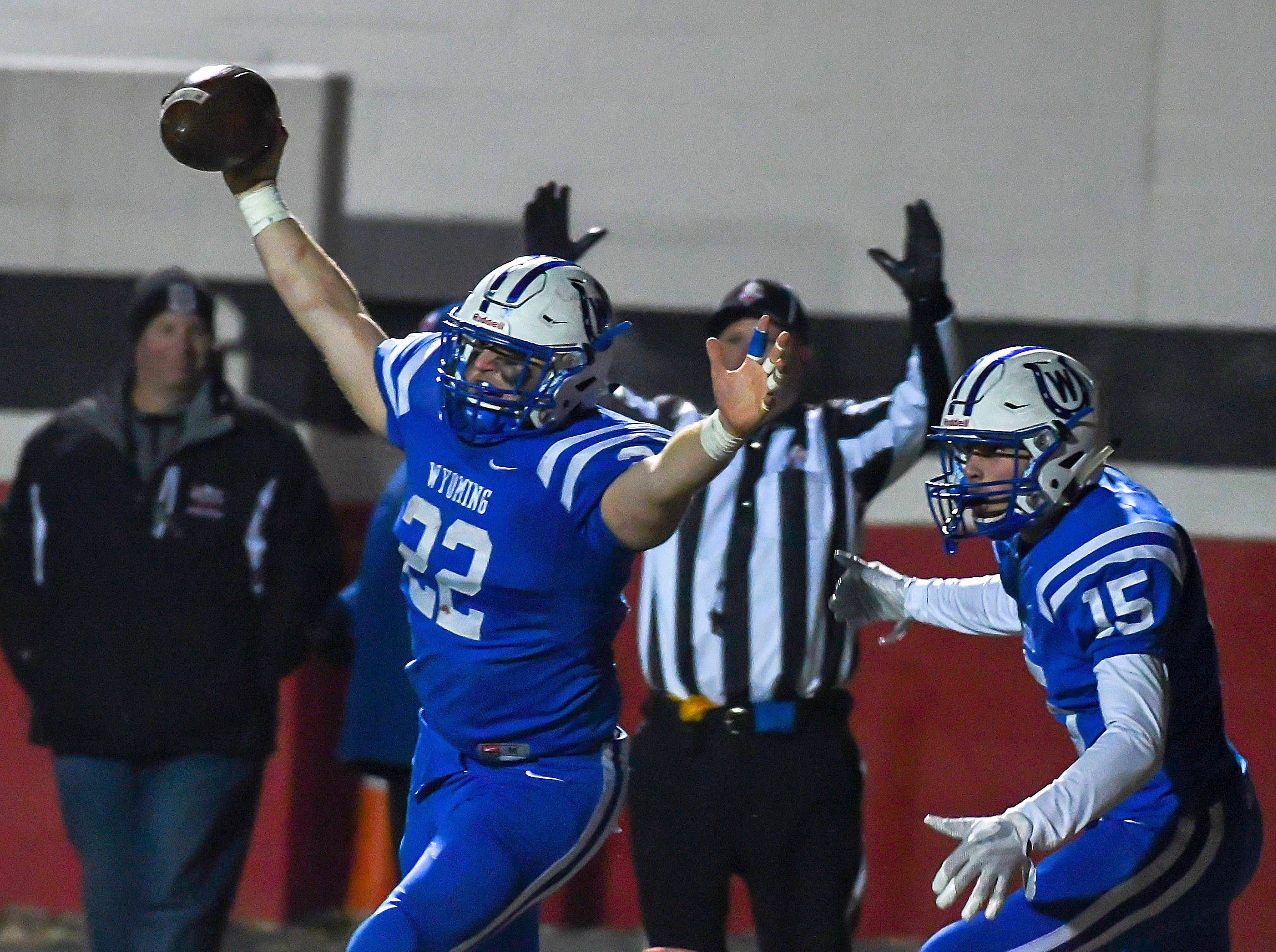 Pierson Rogers of Wyoming  celebrates the game-winning pass in overtime against Indian Hill in the OHSAA DIV Region 16 playoffs at Lakota West High School, Saturday, Nov. 10, 2018.