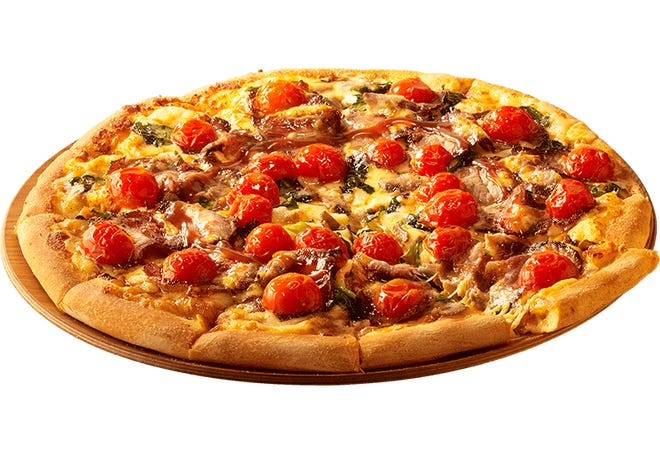 Roast beef and gravy pizza which is available at Dominos Japan.