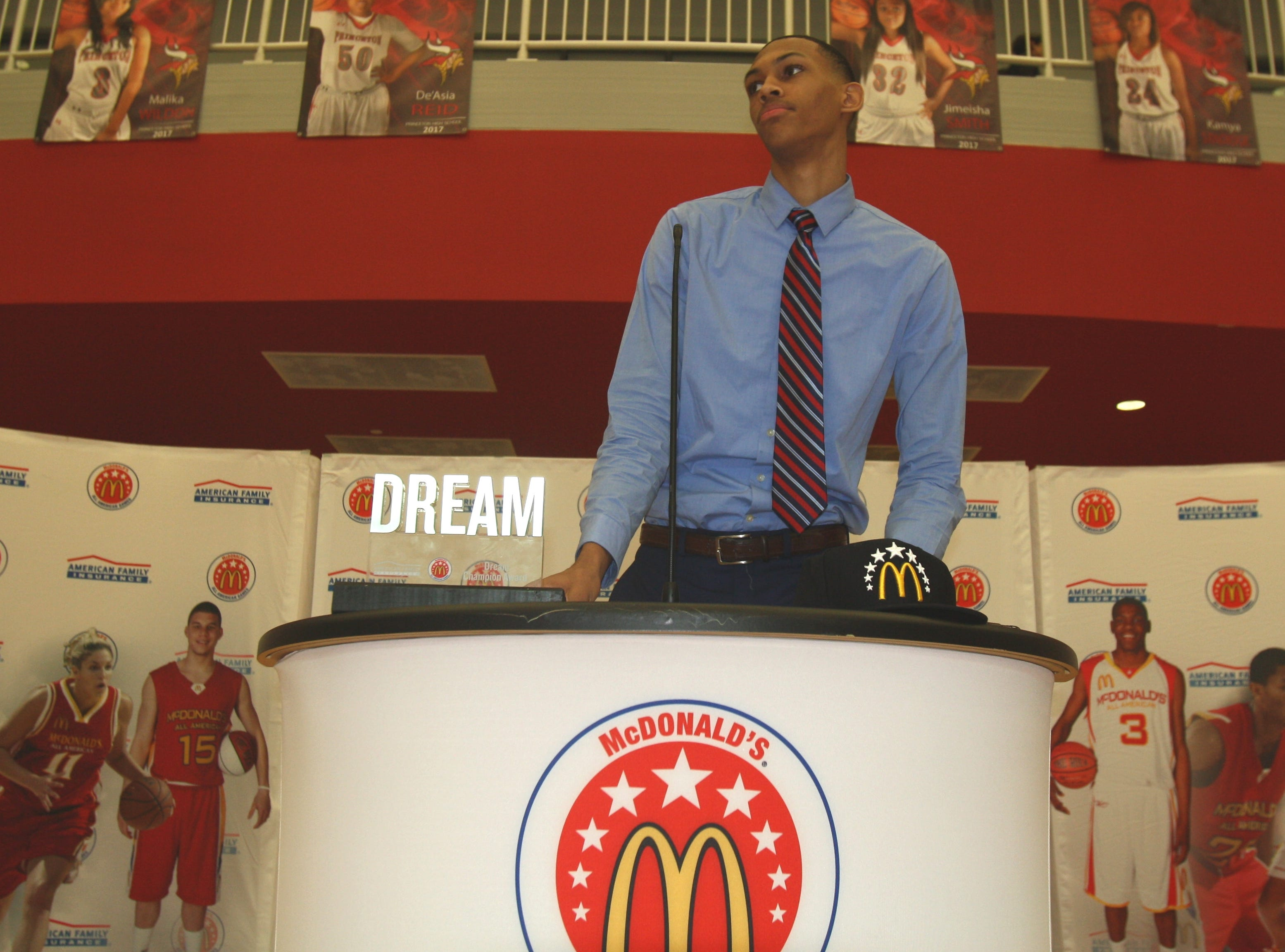 Princeton High School senior Darius Bazley received his McDonald's All-American Game jersey Tuesday, Feb. 20, 2018. Bazley was one of 24 players nationwide to be selected for the game.
