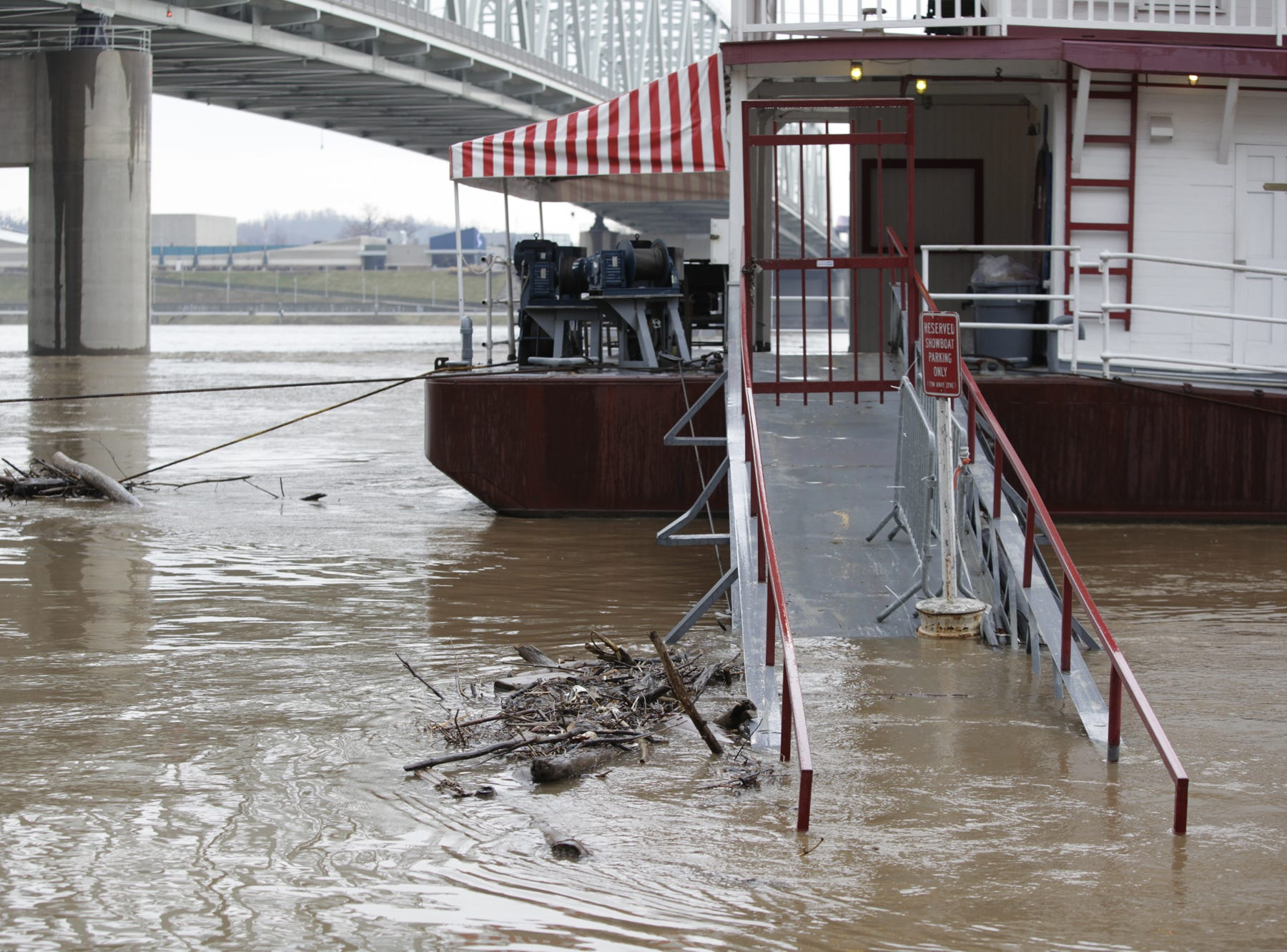 The gangplank to the Showboat Majestic is flooded in 2011.