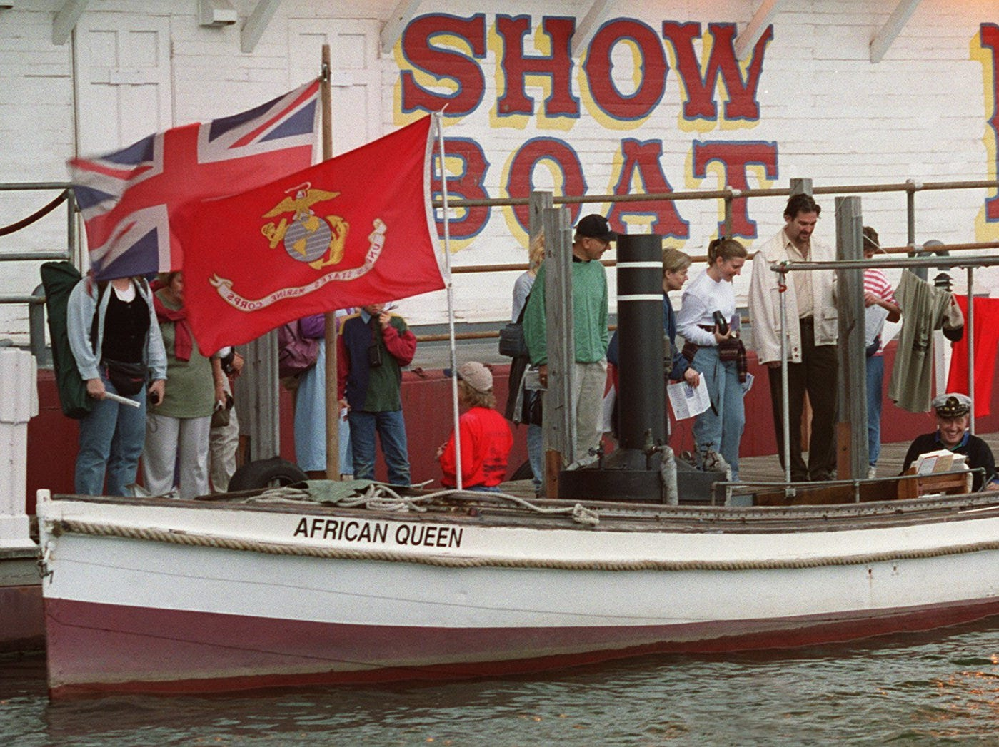 """The """"original"""" movie prop African Queen moored next to the Showboat Majestic during Tall Stacks in 1999."""