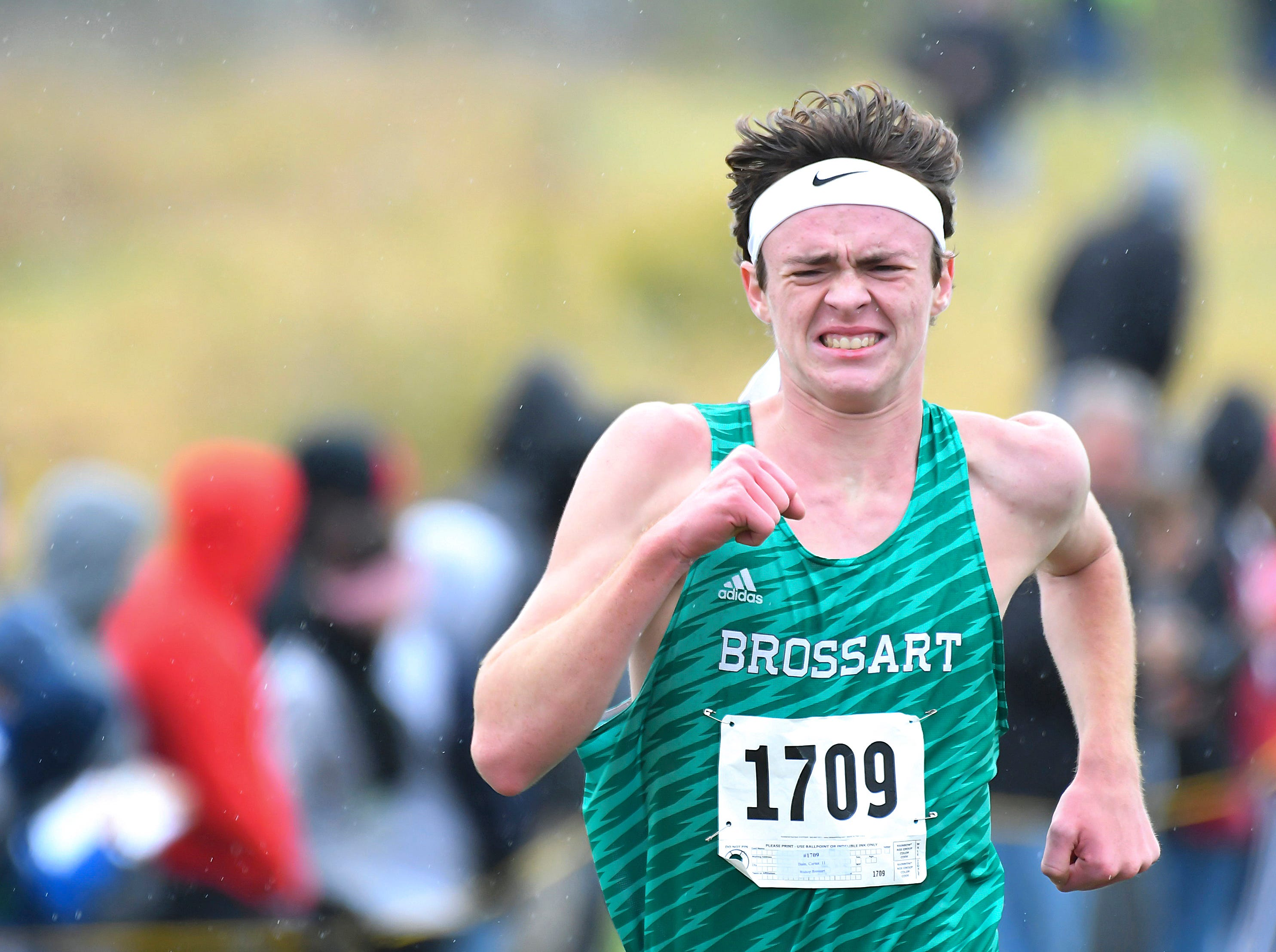 Carter Bain of Bishop Brossart runs in the KHSAA regional cross country championship, Sherman Elementary School, Grant County, KY, Saturday Oct. 27, 2018