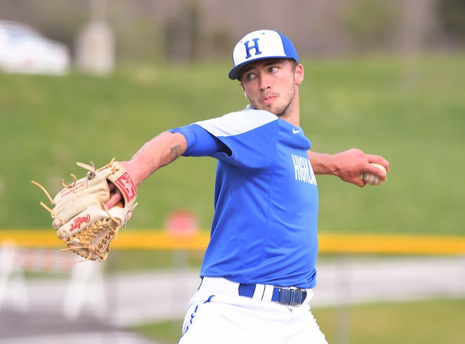 Highlands pitcher Drew Rom throws throws the ball against the Camels at Campbell County High School, April 26, 2018