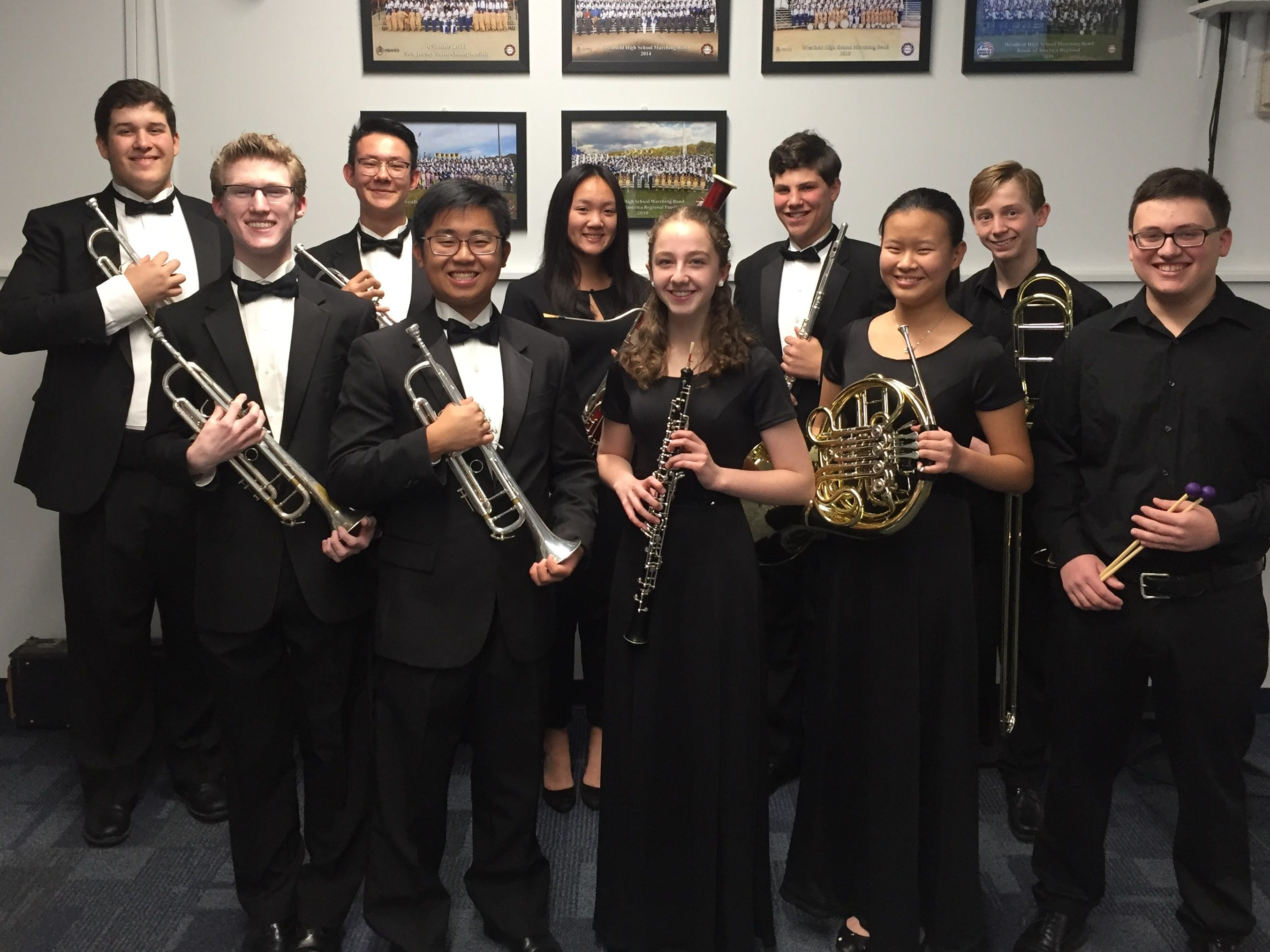 Eleven WHS students will perform with the CJMEA Region II Band in January.  First Row L-R):  Max Tennant, Austin Chen, Tia Lemberg, Aprina Wang, Ian Gurland.  Second Row (L-R):  Duncan Cook, Bryan Raber, Kailey Zhao, Robert Strauss, Conor Daly.  Not pictured:  Valerie Chang.