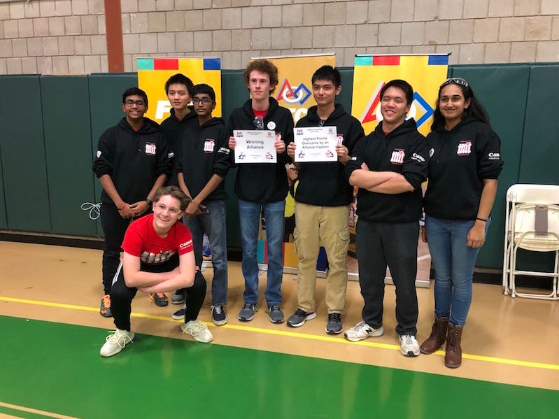 The Hun School robotics team, Radiators Team 12488, took first place out of 29 teams on Dec. 8 at the P'town Throwdown held at Stuart Country Day School.  Pictured below are: kneeling, Stephen Foley.  Back row, left to right: Aneesh Patnaik,  Eric Wu , Abhijay Tatineni , Sam Lowenhar , Joey Willenbucher, Nathan Yu, and team captain Sanjana Kowshik.