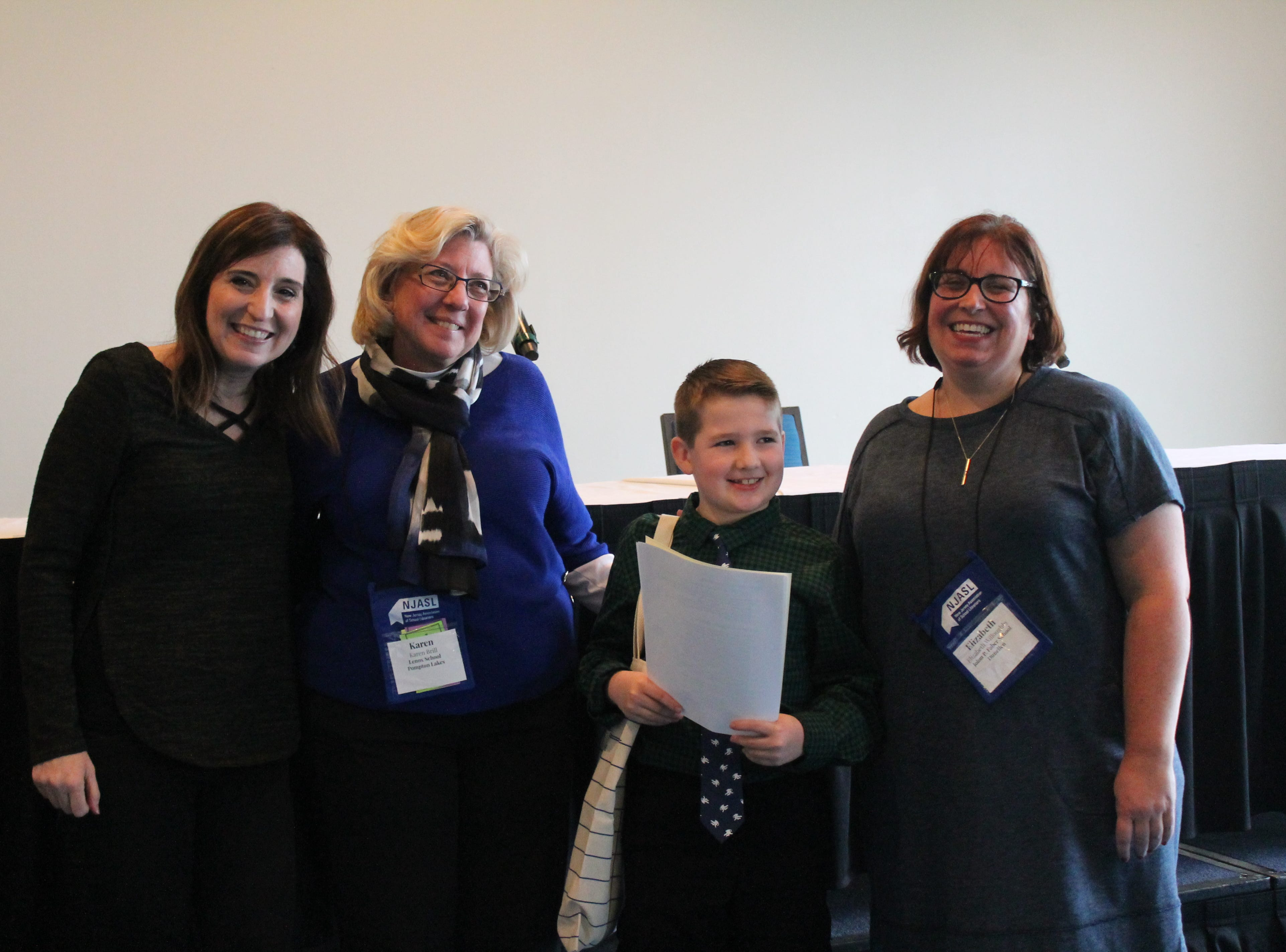 Author, Wendy Mass, Karen Brill, Jackson Portik, and Librarian, Beth Willoughby