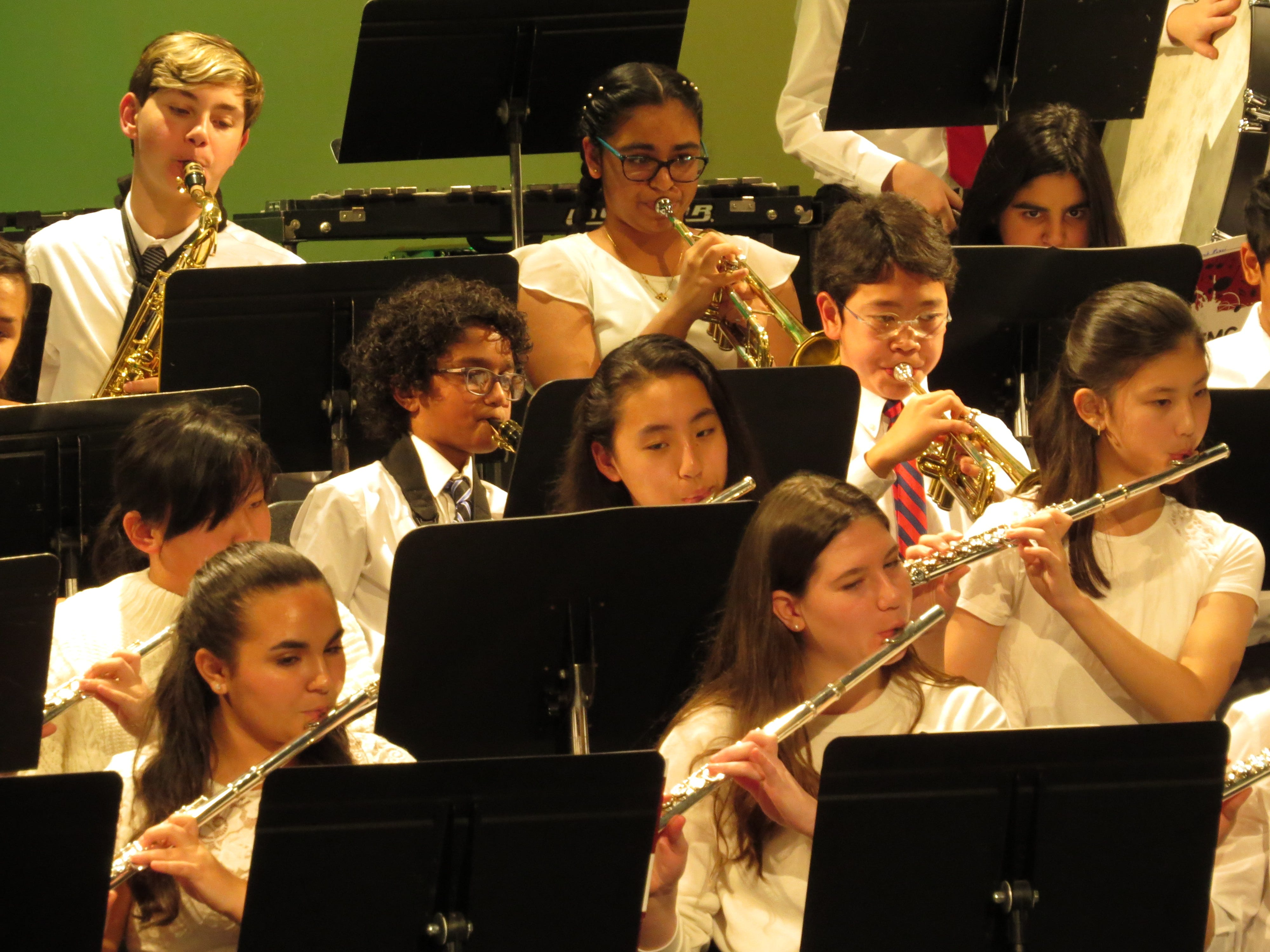 The concert band plays at the Middle School winter concert