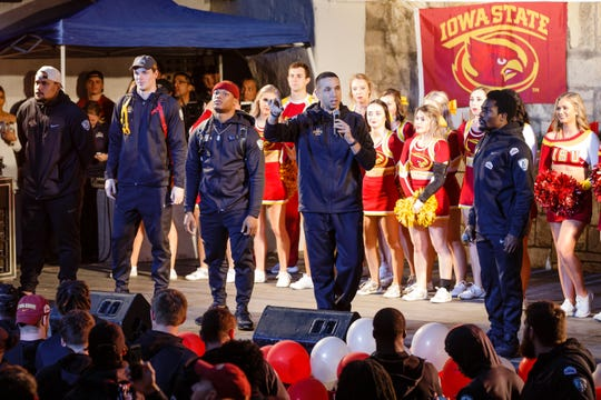 Iowa State head coach Matt Campbell addresses the ISU fans gathered during the Rudy's Bar-B-Q Pep Rally on Wednesday, Dec. 26, 2018, in San Antonio. Iowa State takes on Washington State in the Valero Alamo Bowl on Friday.