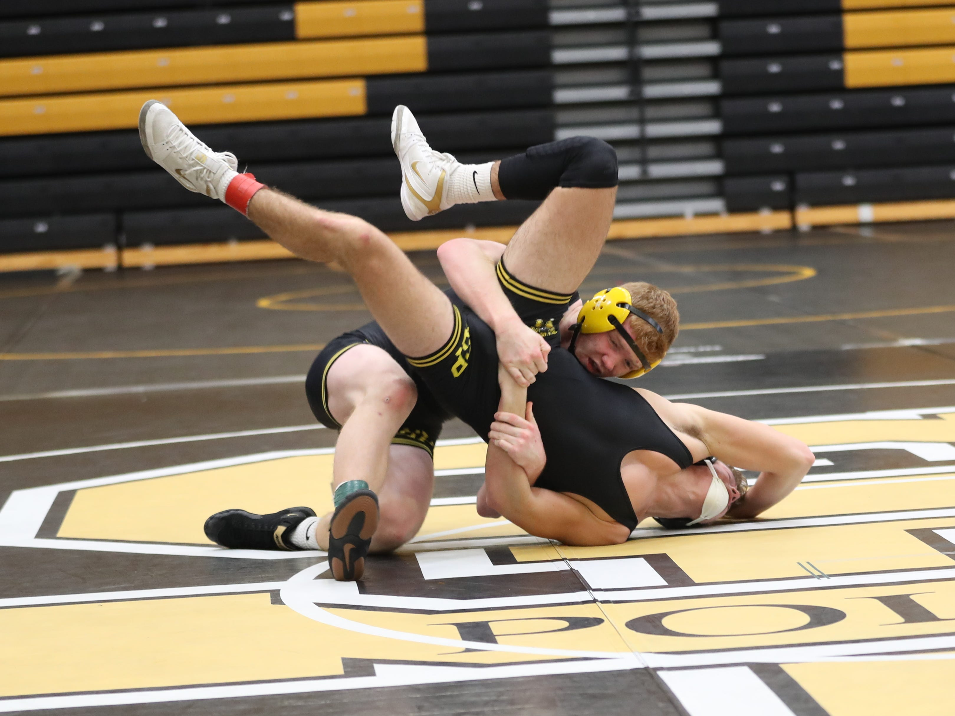 Ryan Strickland wrestles at the Red Owens Holiday Classic at Southeast Polk High School on Dec. 15, 2018.
