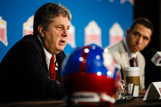 Washington State head coach Mike Leach addresses the media during a press conference on Thursday, Dec. 27, 2018, in San Antonio. Iowa State takes on Washington State in the Valero Alamo Bowl on Friday.