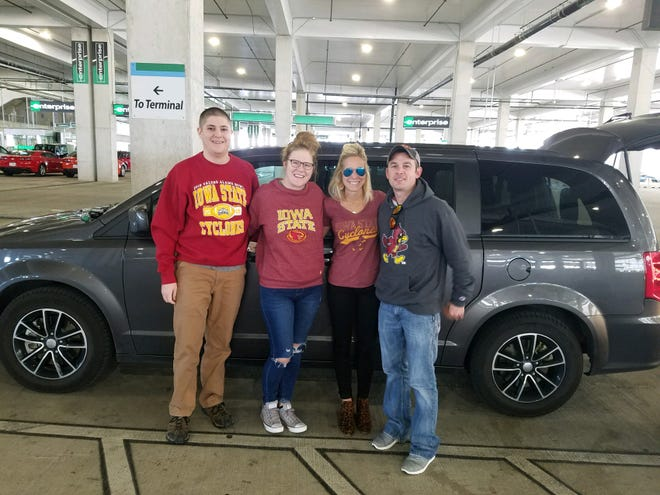 Once strangers, the Kays (Austin and Michelle) joined the Albrights (Krista and Nick) for the drive to the Alamo Bowl after their flight was canceled.