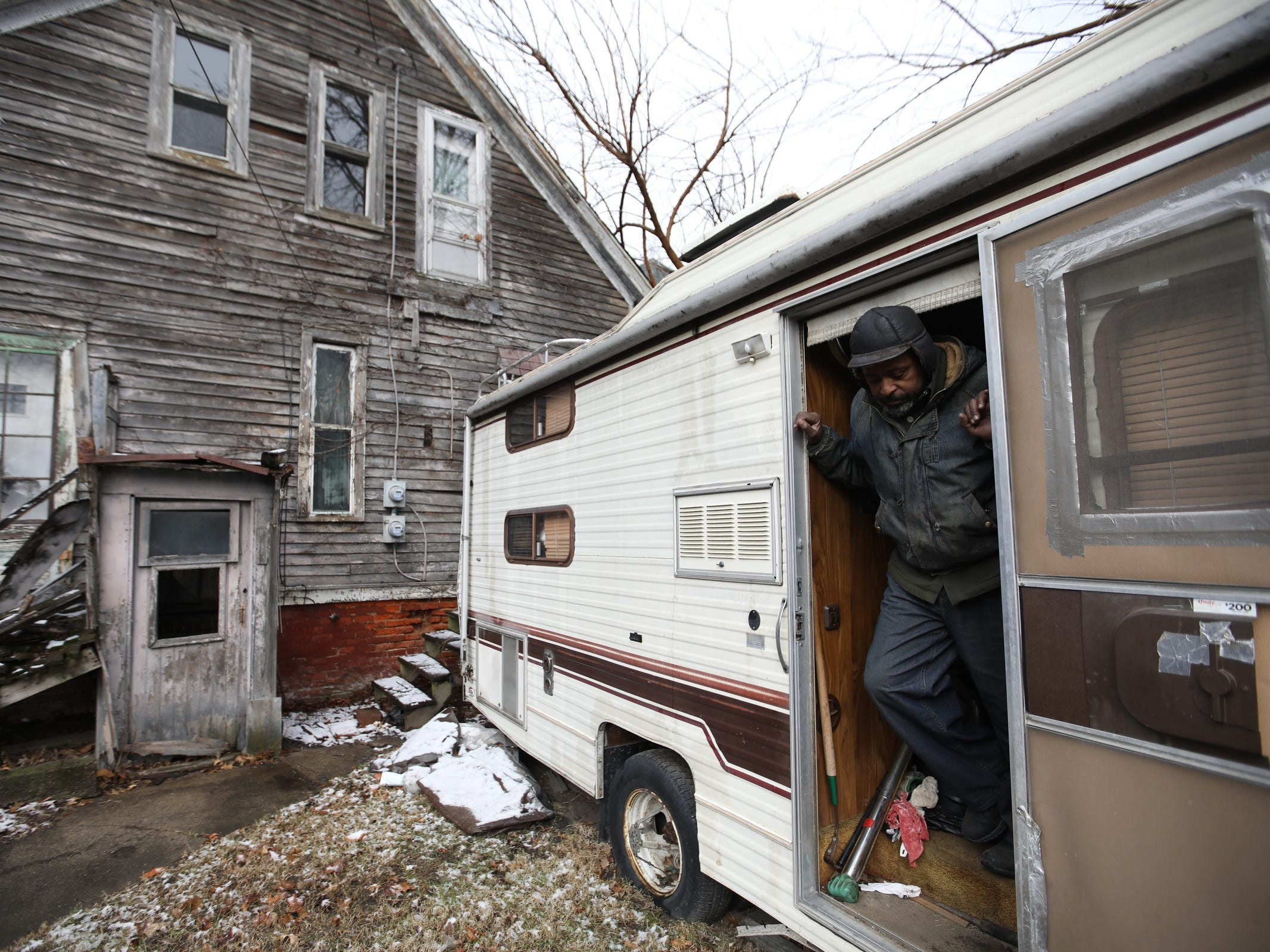 Stanley Thompson, 70, of Detroit has been living in a RV in his backyard since 2012, after the leak in the roof of his family home made it unlivable. Thompson, with the help of United Community Housing Coalition, was able to find a market-rate apartment in downtown Detroit, after Thompson lost his home due to back property taxes.