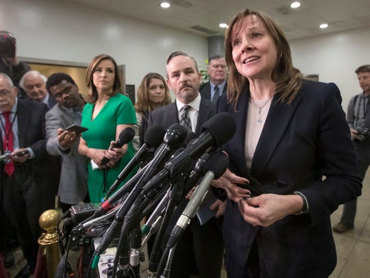 General Motors CEO Mary Barra speaks to reporters after meeting with the Michigan congressional delegation to discuss plans for the massive restructuring by the automaker, on Capitol Hill in Washington, Thursday, Dec. 6, 2018.