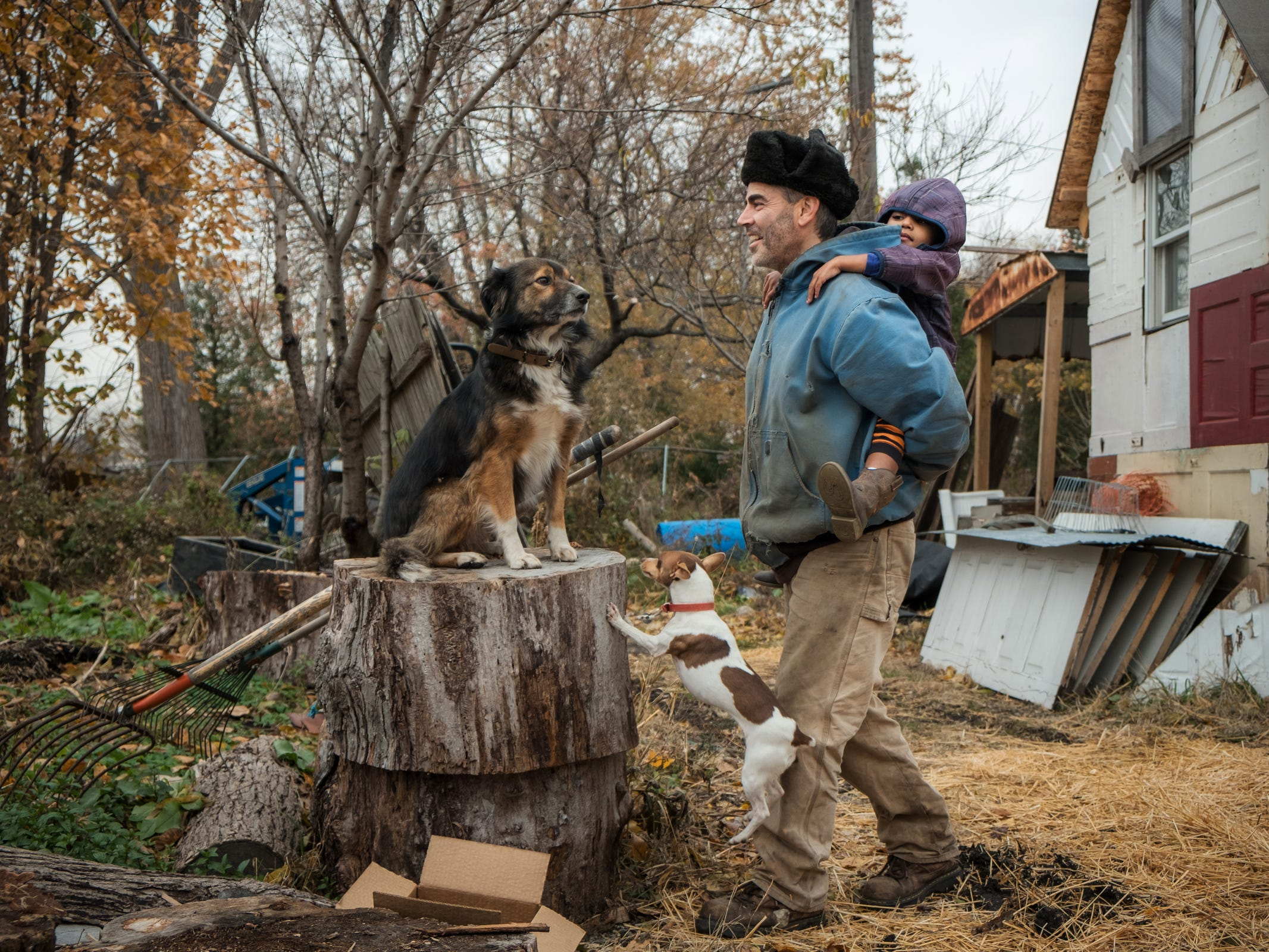 "Gillka attempts to jumps up on a tree stump where Watson rests as their owner Greg Willerer, 49, carries his daughter Wren Willerer, 4, outside of their home in Detroit's North Corktown neighborhood on Wednesday, November 12, 2018. Willerer and his wife created an urban farm called ""Brother Nature Compound"" where they transformed a city block that hadn't been used in decades removing construction debris people illegally dumped to grow greens they sell to local restaurants."