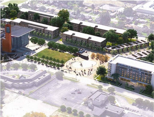 Artist conception of the proposed Warren Town Center, a mixed-use development featuring 500 market rate apartments, a 200-key, high-end boutique hotel, over 20,000 square feet of retail and dining and space for a 30,000 square foot, full-service grocery.