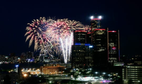 The 2018 Ford Fireworks on the Detroit River in downtown Detroit on June 25, 2018.