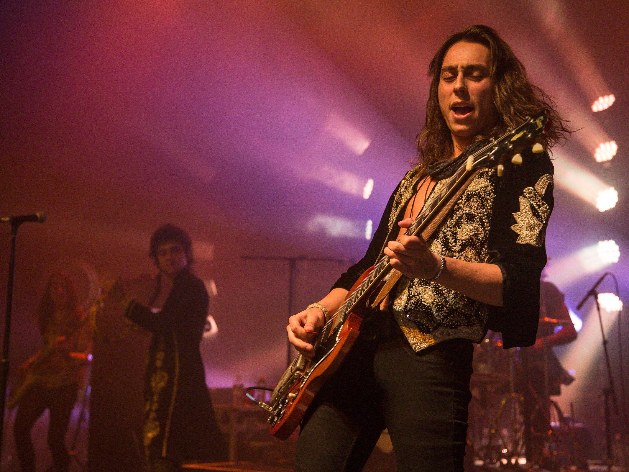 Greta Van Fleet performs in front of a sold out crowd at The Fillmore Detroit on May 22, 2018 in downtown Detroit.