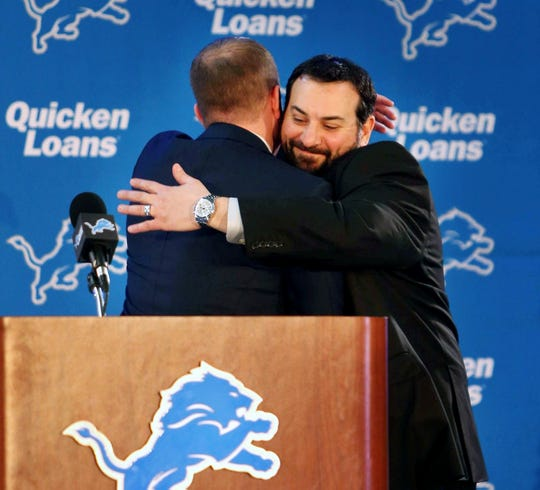 GM Bob Quinn introduces new Detroit Lions head coach Matt Patricia, Feb. 7, 2018 at the practice facility in Allen Park.