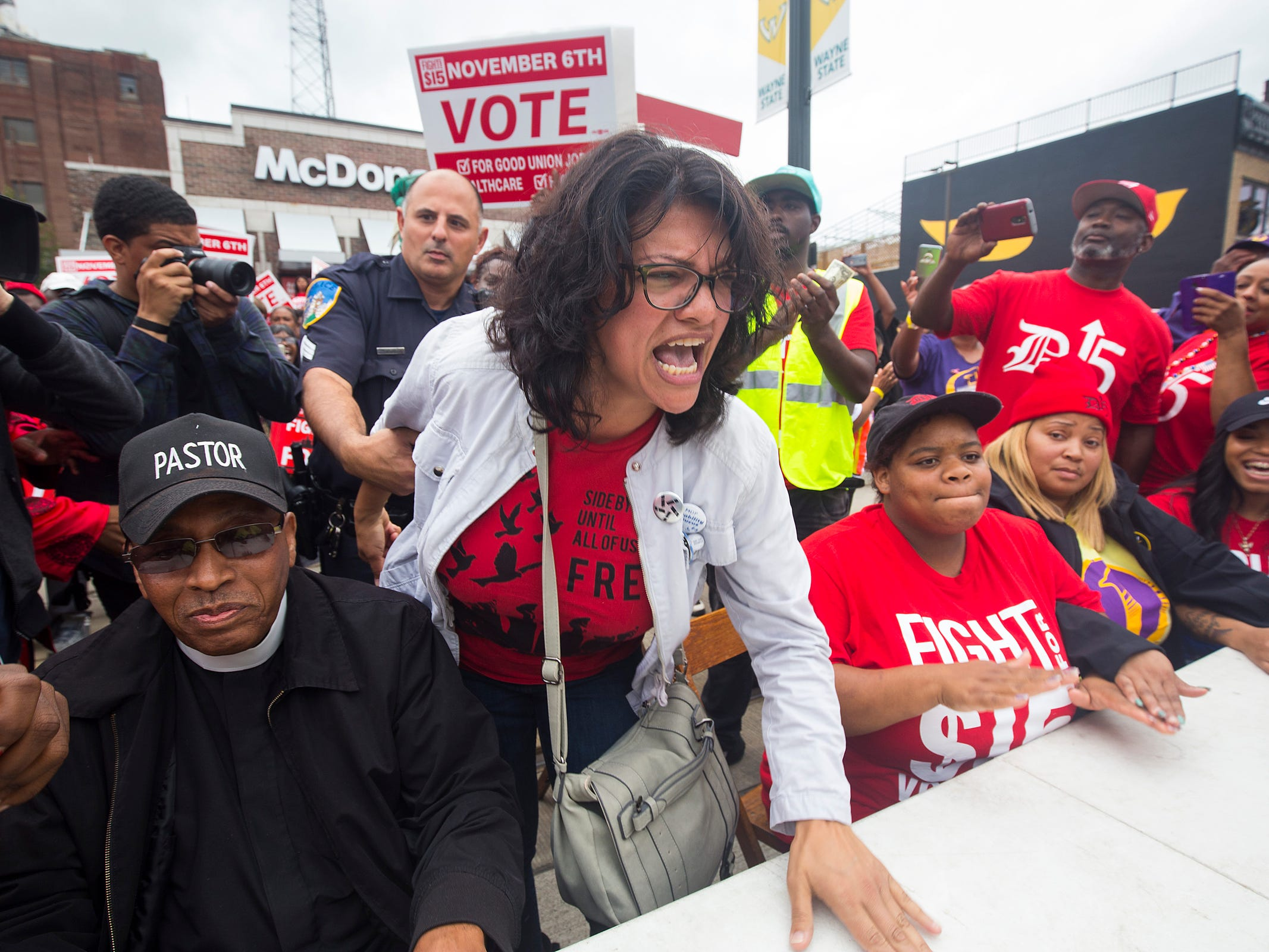 Congressional candidate Rashida Tlaib joins Fight For $15 rally along with striking McDonalds employees. Tlaib was arrested in front of McDonalds on Woodward Avenue  Tuesday, Oct. 2, 2018 during a protest.